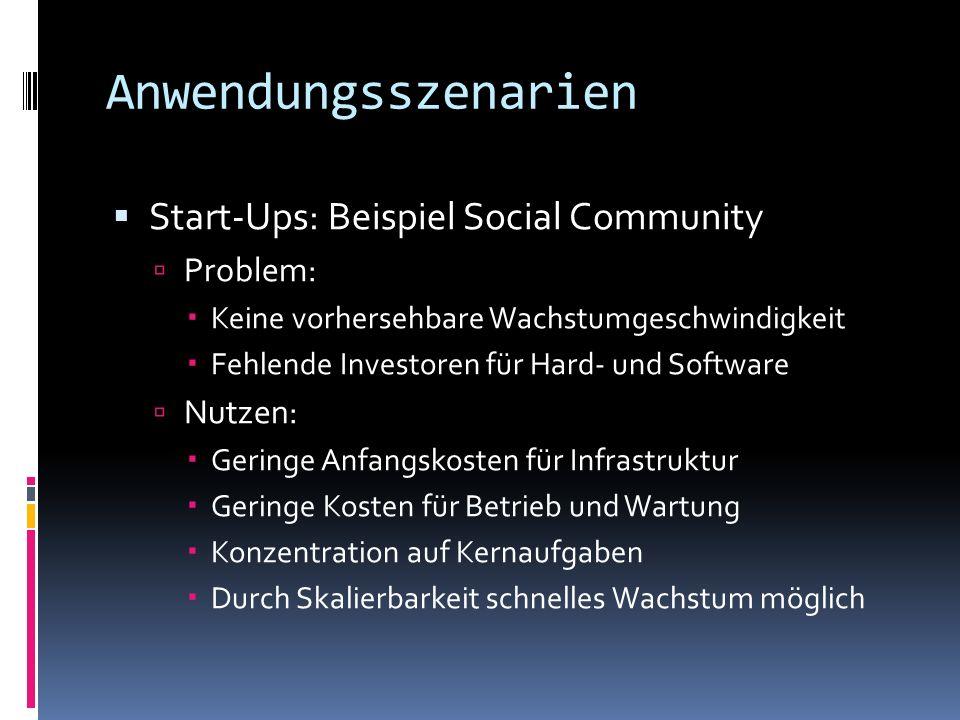 Anwendungsszenarien Start-Ups: Beispiel Social Community Problem: