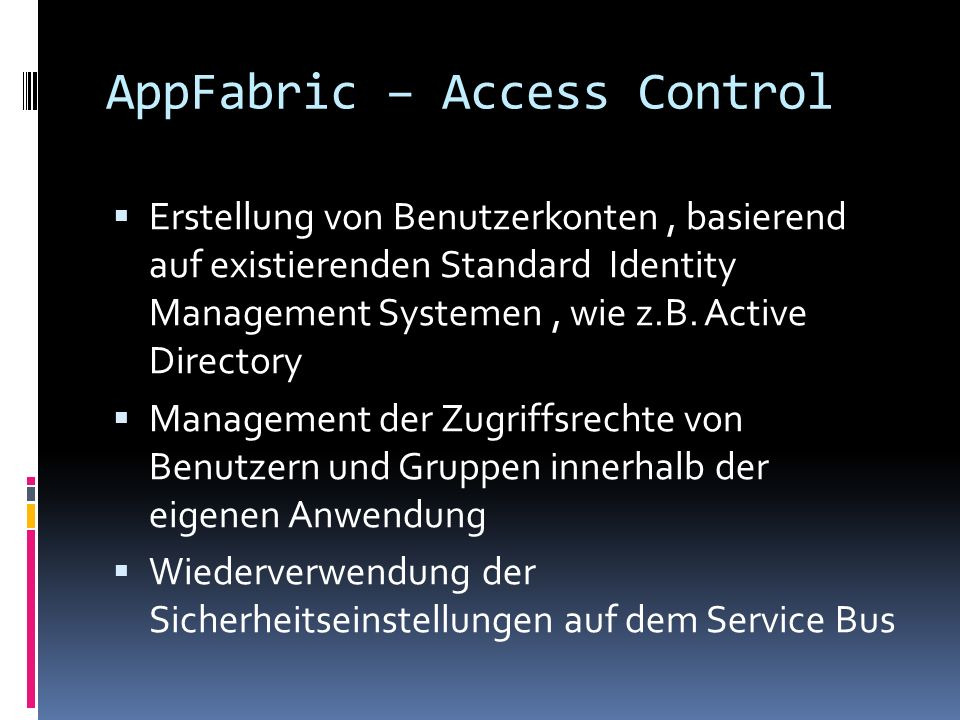 AppFabric – Access Control