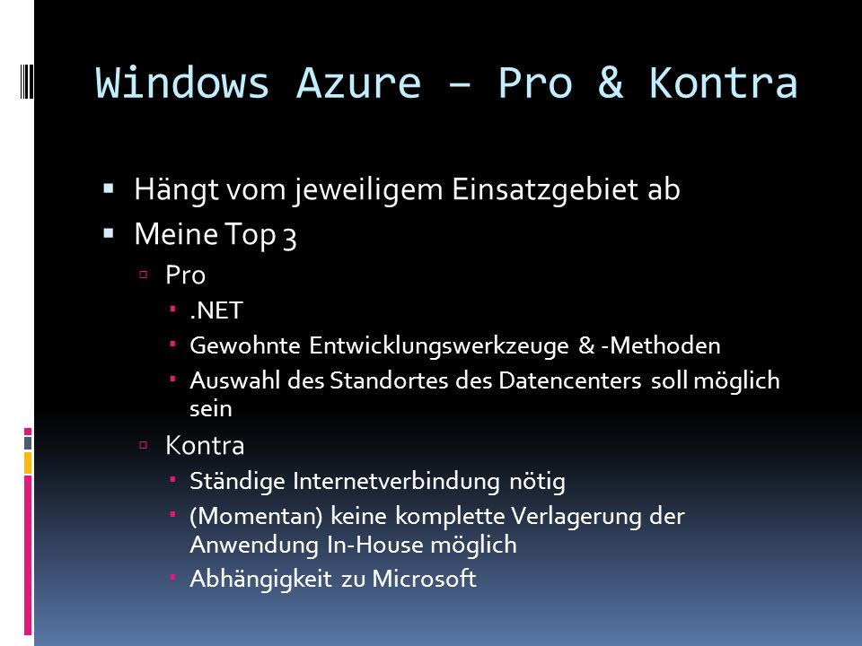 Windows Azure – Pro & Kontra