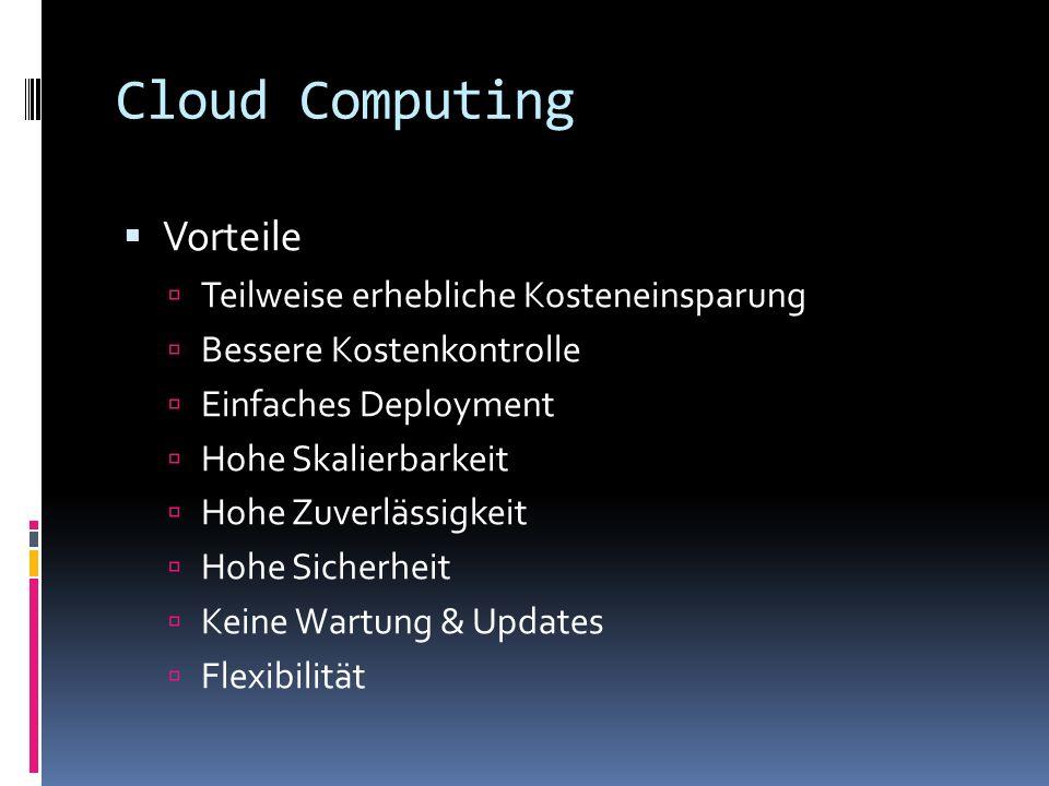 Cloud Computing Vorteile Teilweise erhebliche Kosteneinsparung