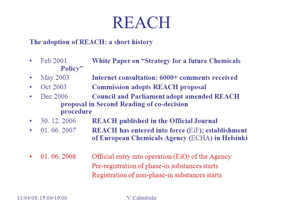 REACH The adoption of REACH: a short history