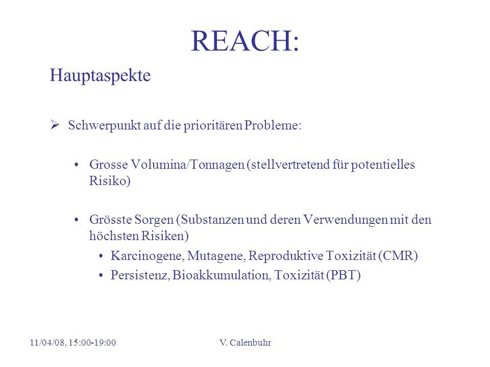 REACH: Hauptaspekte Schwerpunkt auf die prioritären Probleme: