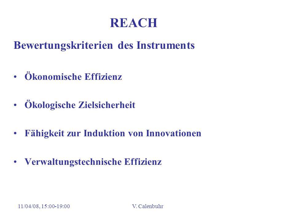 REACH Bewertungskriterien des Instruments Ökonomische Effizienz