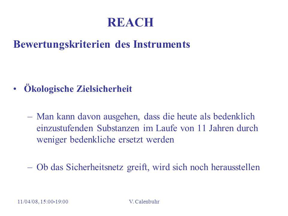 REACH Bewertungskriterien des Instruments Ökologische Zielsicherheit
