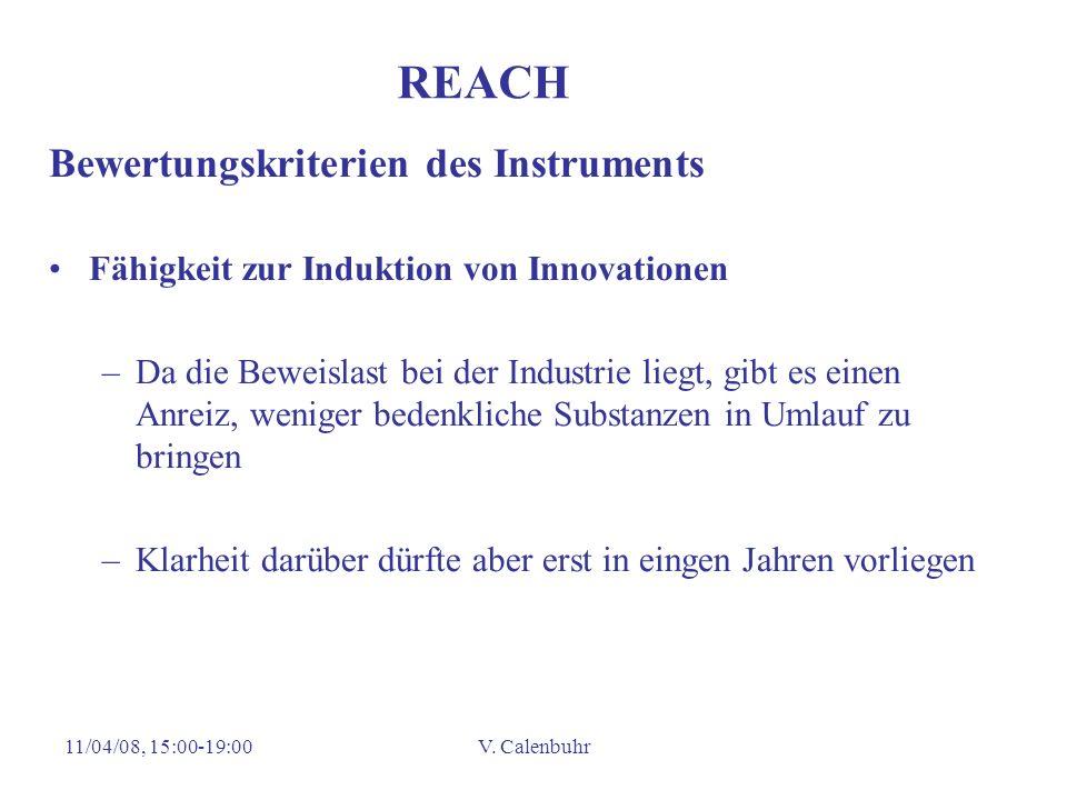 REACH Bewertungskriterien des Instruments
