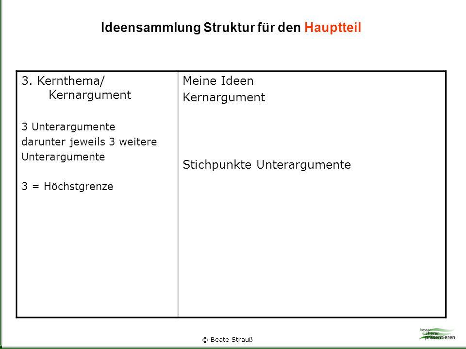 Ideensammlung Struktur für den Hauptteil