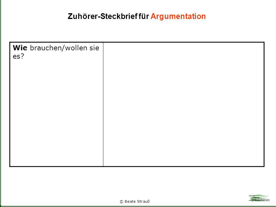 Zuhörer-Steckbrief für Argumentation