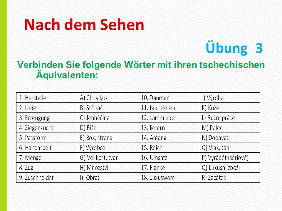 Nach dem Sehen Übung 3 Verbinden Sie folgende Wörter mit ihren tschechischen Äquivalenten: