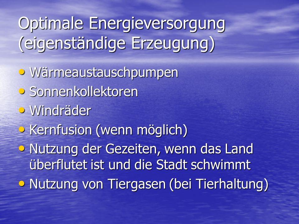 Optimale Energieversorgung (eigenständige Erzeugung)
