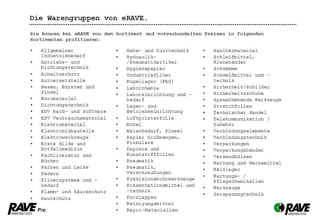 Die Warengruppen von eRAVE.