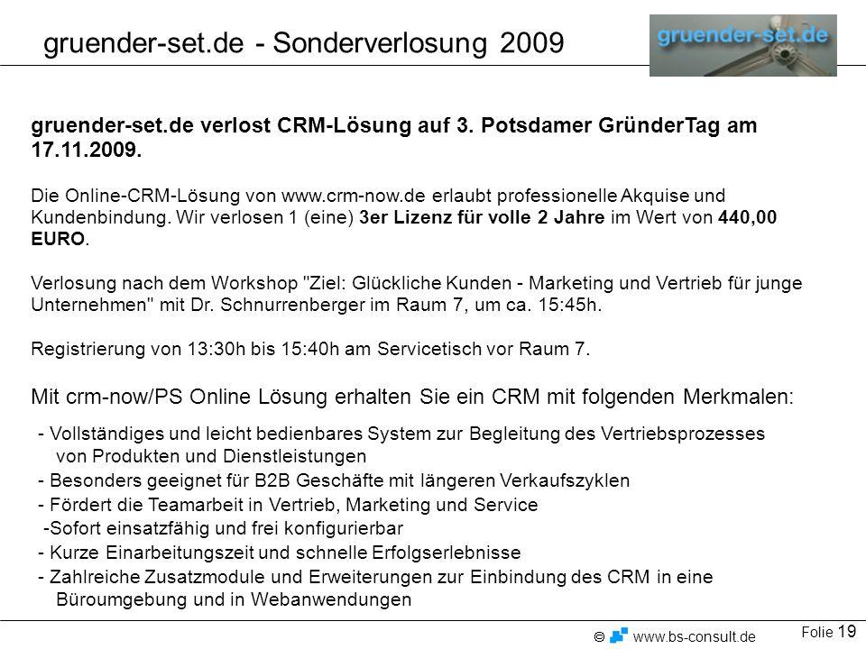 gruender-set.de - Sonderverlosung 2009