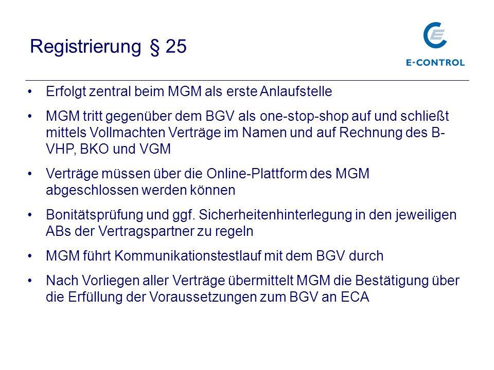 Registrierung § 25 Erfolgt zentral beim MGM als erste Anlaufstelle