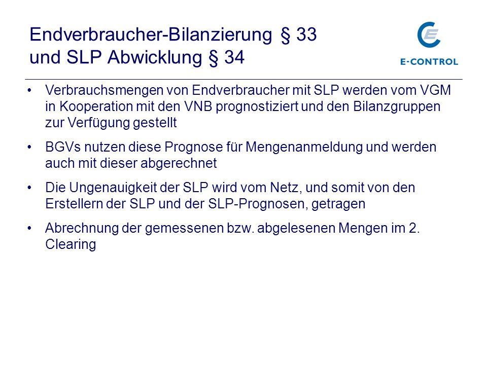 Endverbraucher-Bilanzierung § 33 und SLP Abwicklung § 34