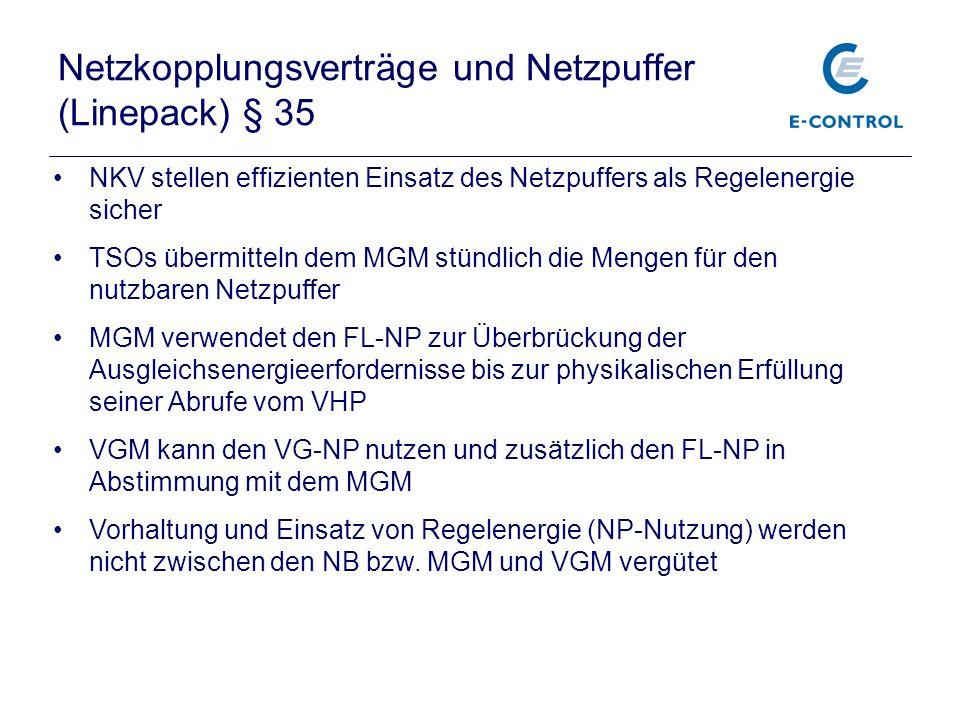 Netzkopplungsverträge und Netzpuffer (Linepack) § 35