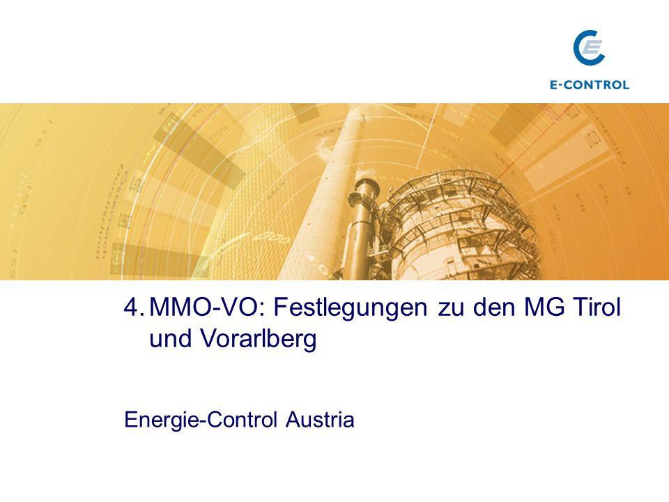 MMO-VO: Festlegungen zu den MG Tirol und Vorarlberg