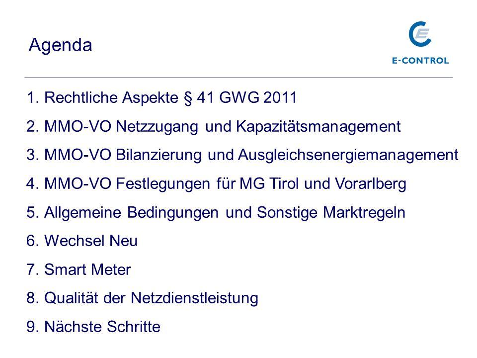 Agenda Rechtliche Aspekte § 41 GWG 2011