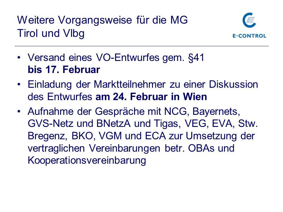 Weitere Vorgangsweise für die MG Tirol und Vlbg