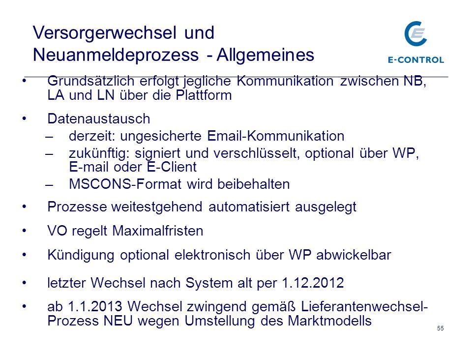 Versorgerwechsel und Neuanmeldeprozess - Allgemeines