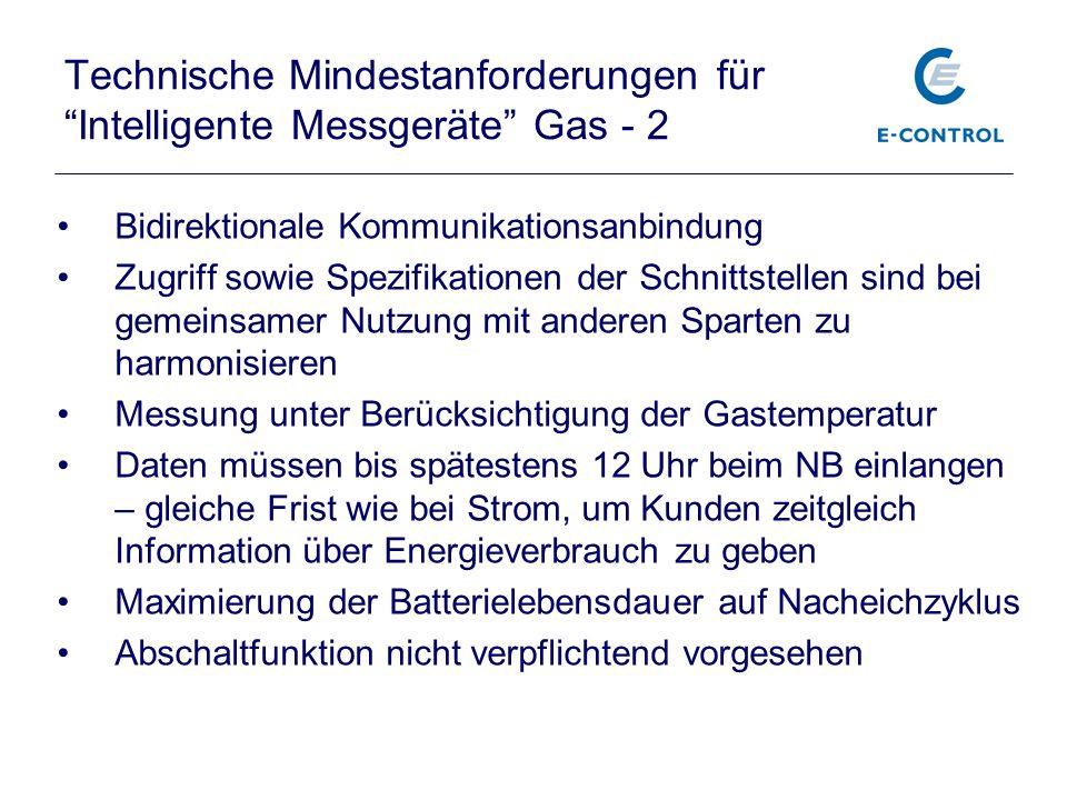 Technische Mindestanforderungen für Intelligente Messgeräte Gas - 2
