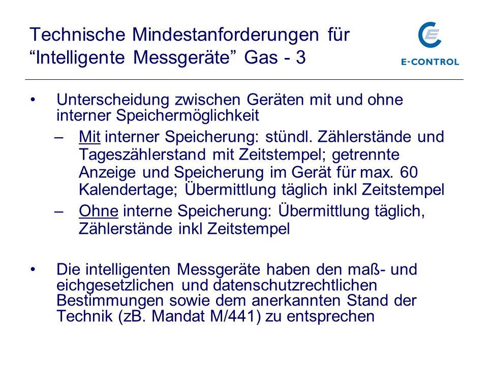 Technische Mindestanforderungen für Intelligente Messgeräte Gas - 3