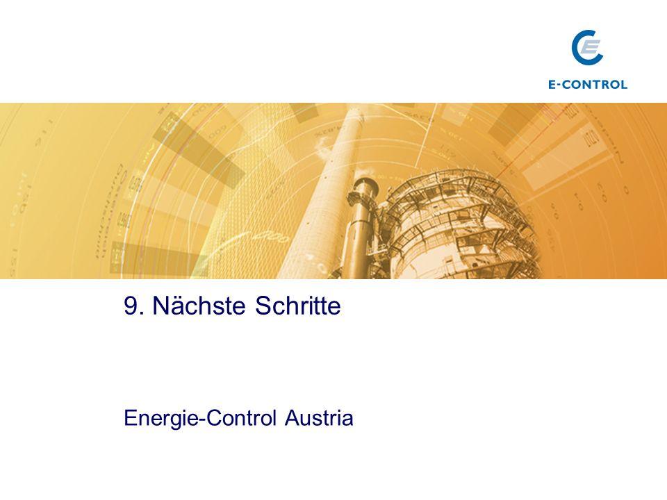 Titel 9. Nächste Schritte Energie-Control Austria