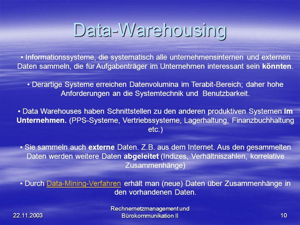 Rechnernetzmanagement und Bürokommunikation II