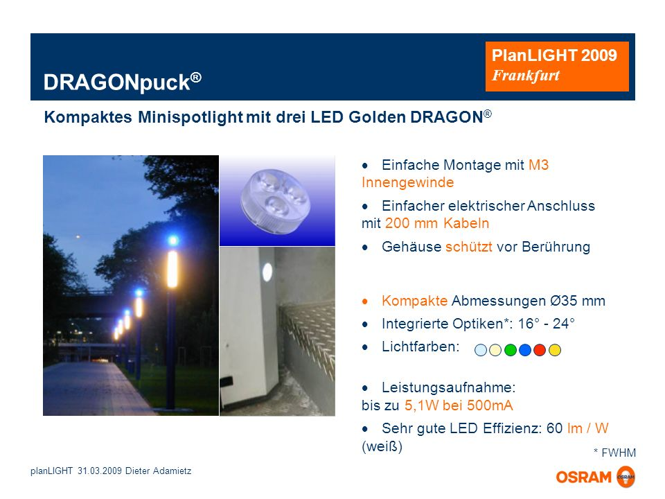 DRAGONpuck® Kompaktes Minispotlight mit drei LED Golden DRAGON®