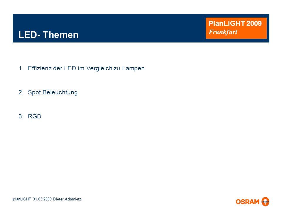 LED- Themen Effizienz der LED im Vergleich zu Lampen Spot Beleuchtung