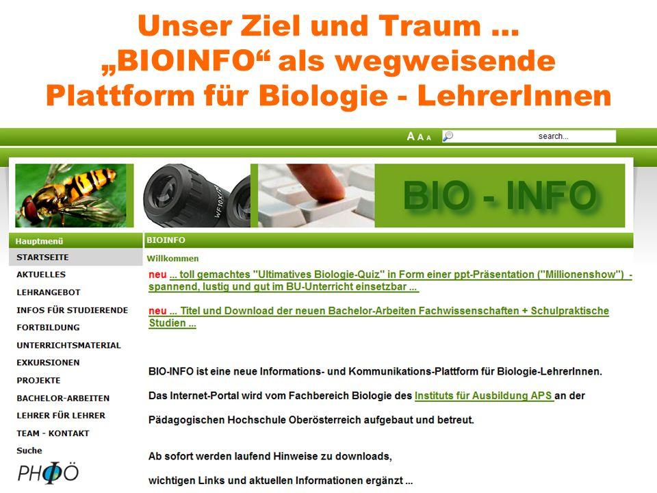 """Unser Ziel und Traum … """"BIOINFO als wegweisende Plattform für Biologie - LehrerInnen"""