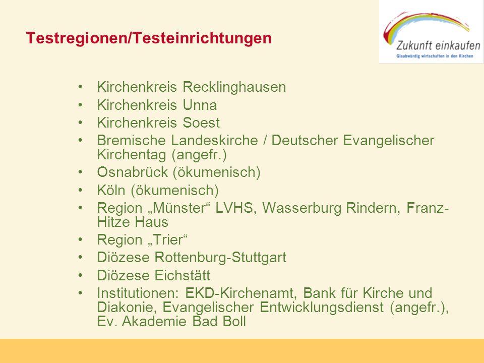 Testregionen/Testeinrichtungen