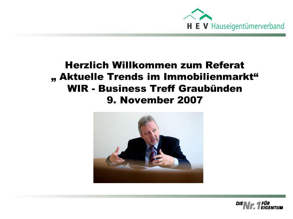 """Herzlich Willkommen zum Referat """" Aktuelle Trends im Immobilienmarkt WIR - Business Treff Graubünden 9."""