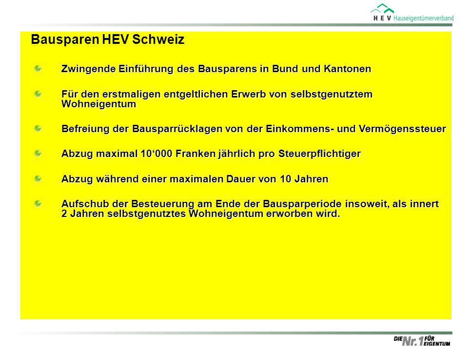 Bausparen HEV SchweizZwingende Einführung des Bausparens in Bund und Kantonen.