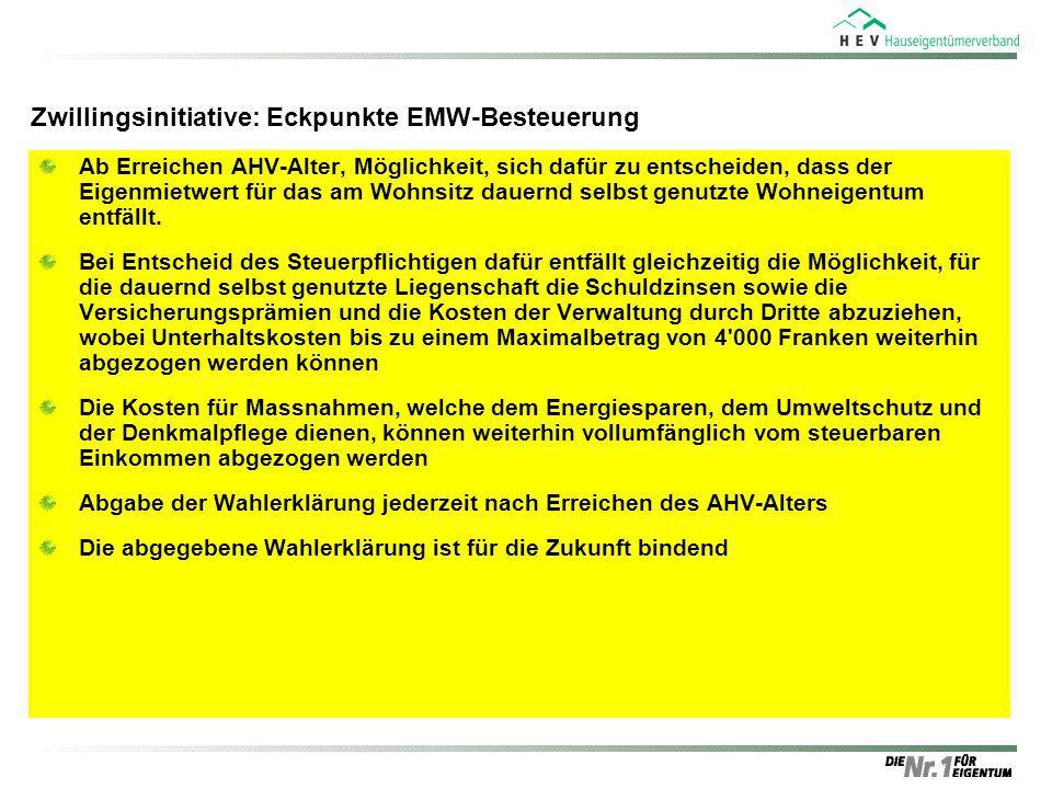 Zwillingsinitiative: Eckpunkte EMW-Besteuerung