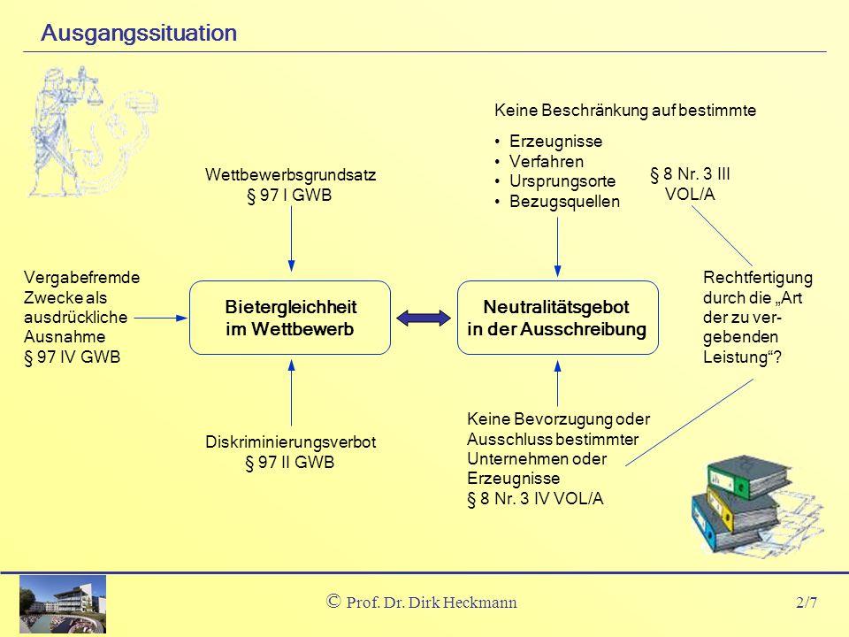 Ausgangssituation Prof. Dr. Dirk Heckmann Bietergleichheit