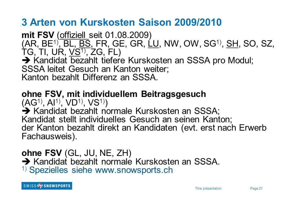 3 Arten von Kurskosten Saison 2009/2010