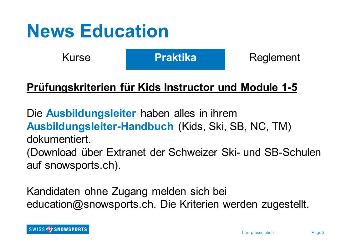 News Education Kurse Praktika Reglement