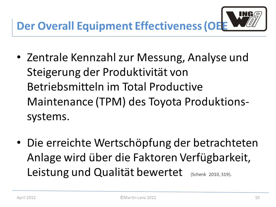 Der Overall Equipment Effectiveness (OEE