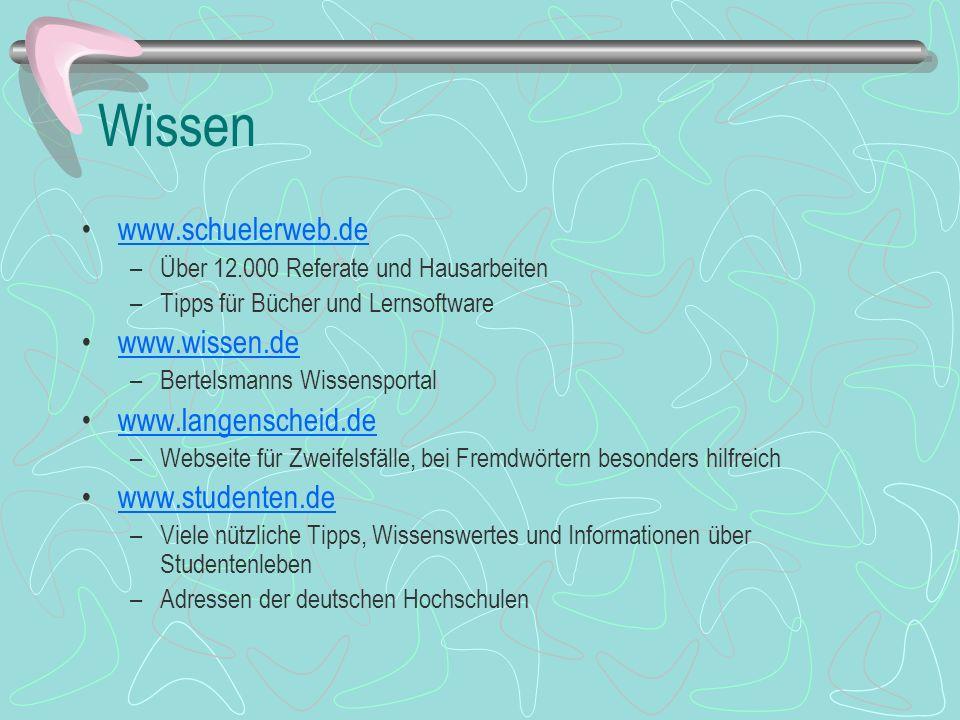 Wissen www.schuelerweb.de www.wissen.de www.langenscheid.de