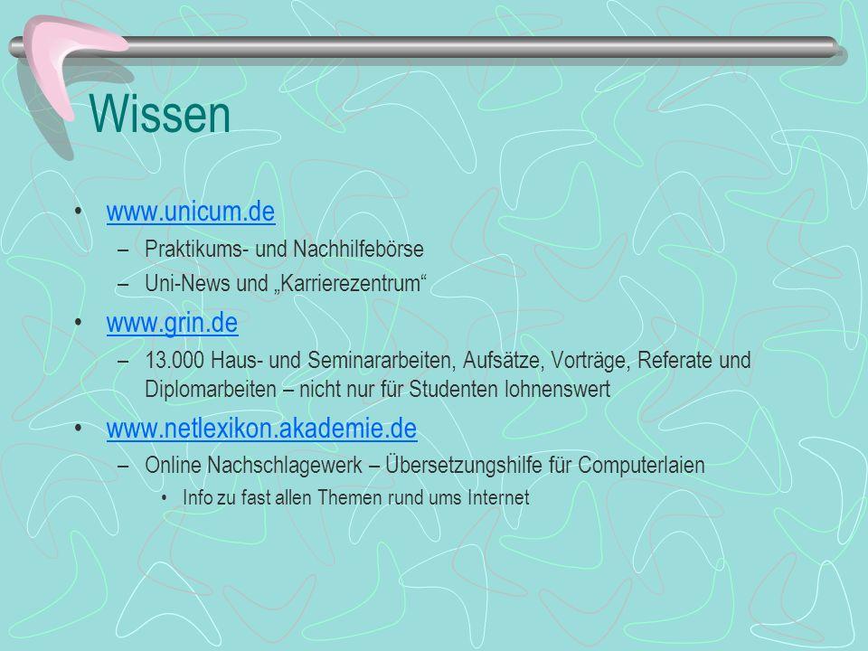 Wissen www.unicum.de www.grin.de www.netlexikon.akademie.de