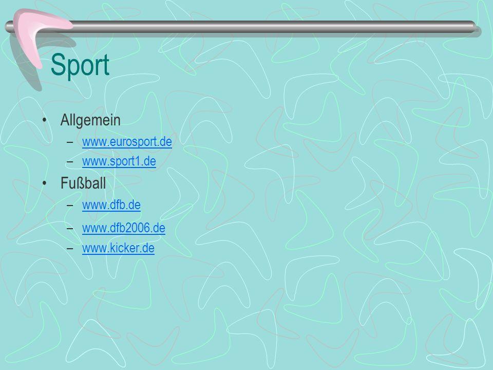 Sport Allgemein Fußball www.eurosport.de www.sport1.de www.dfb.de