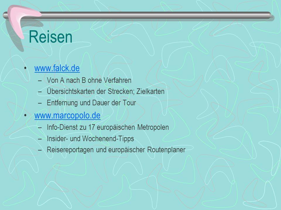 Reisen www.falck.de www.marcopolo.de Von A nach B ohne Verfahren