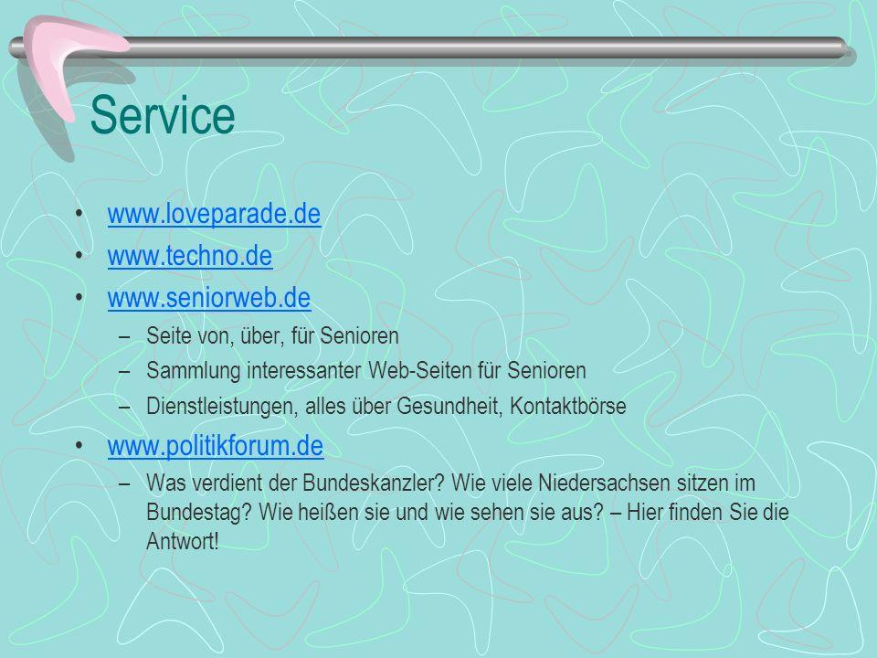 Service www.loveparade.de www.techno.de www.seniorweb.de