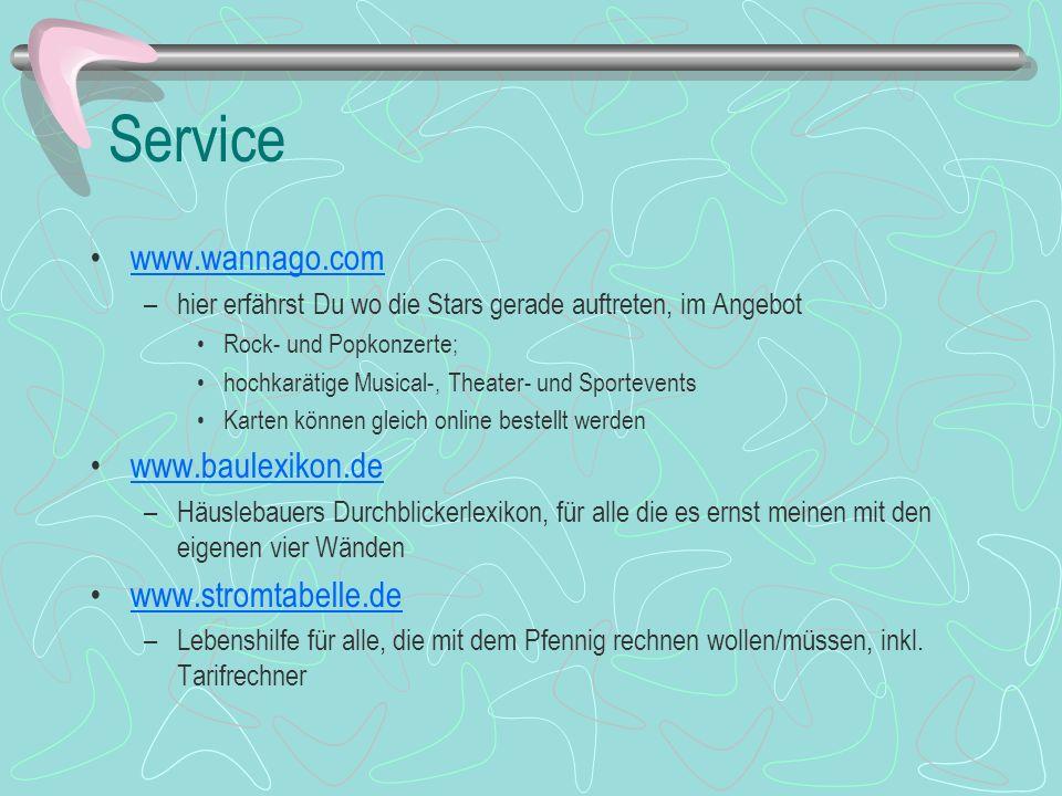 Service www.wannago.com www.baulexikon.de www.stromtabelle.de
