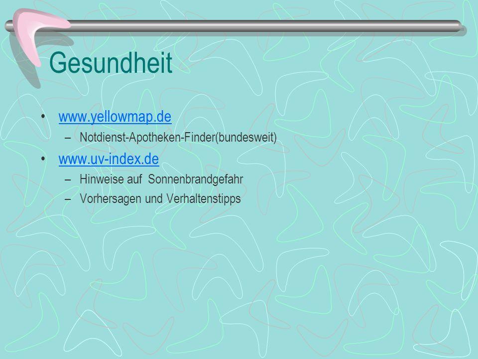 Gesundheit www.yellowmap.de www.uv-index.de