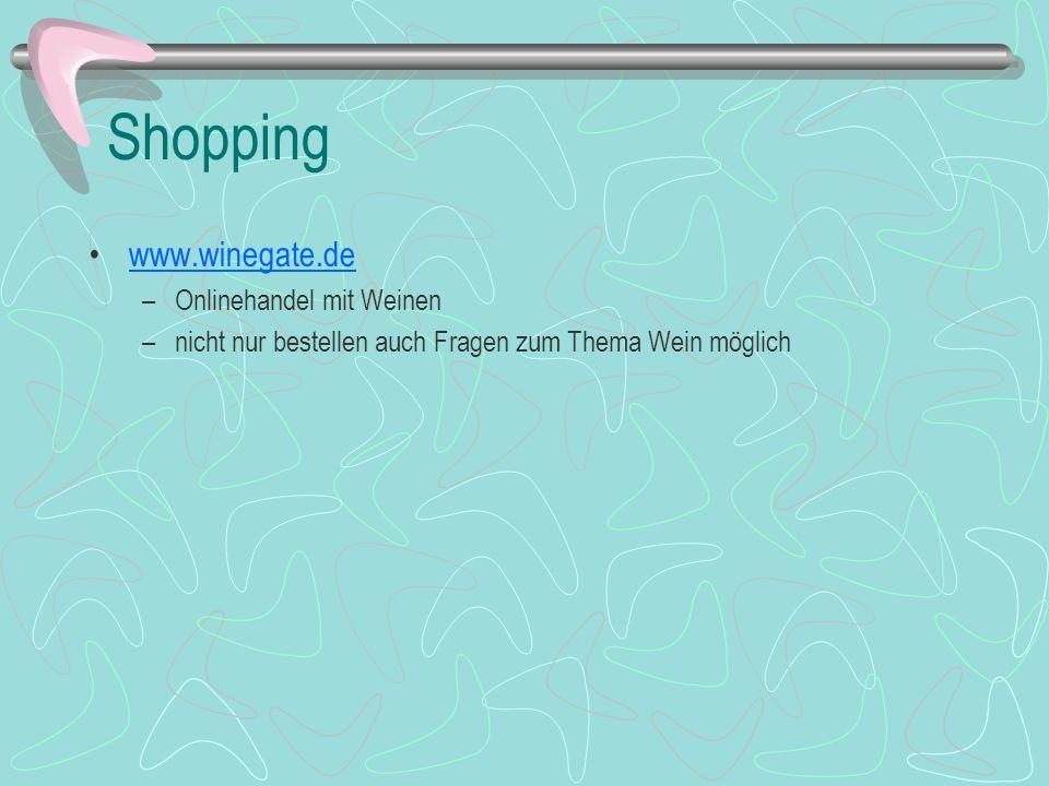 Shopping www.winegate.de Onlinehandel mit Weinen