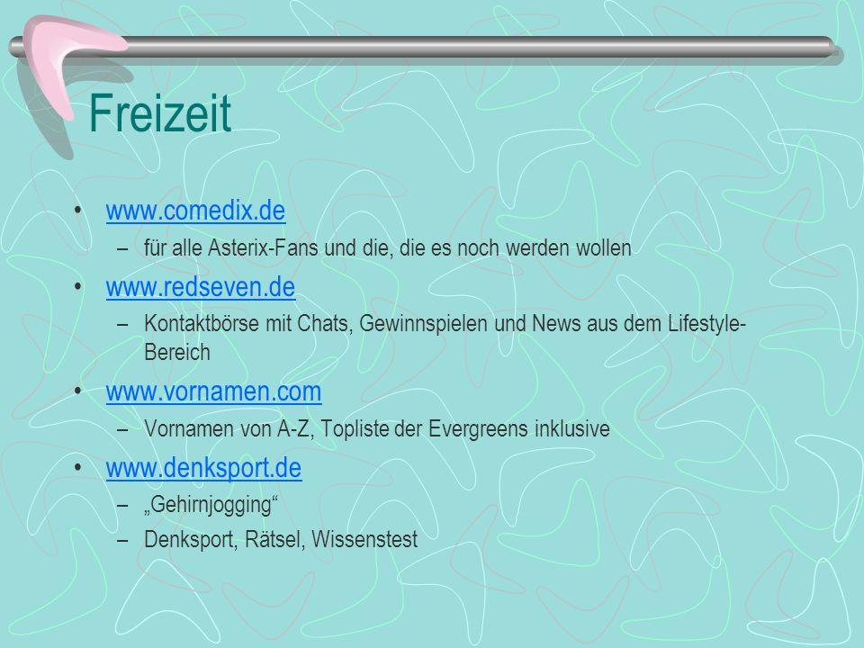 Freizeit www.comedix.de www.redseven.de www.vornamen.com
