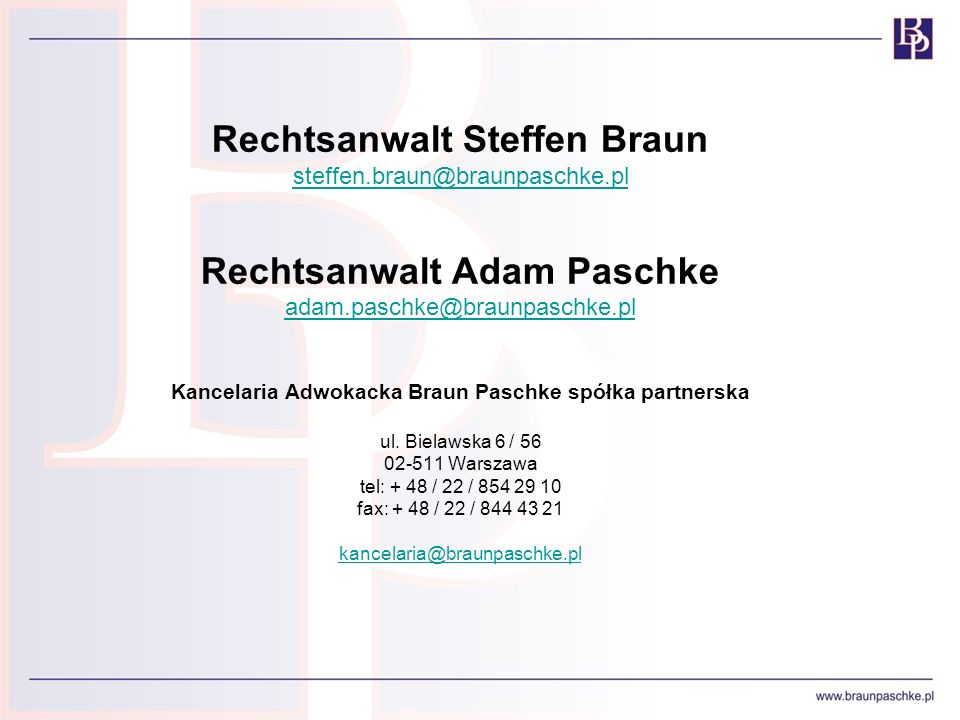 Kancelaria Adwokacka Braun Paschke spółka partnerska