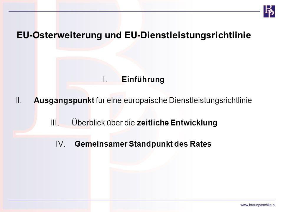 EU-Osterweiterung und EU-Dienstleistungsrichtlinie