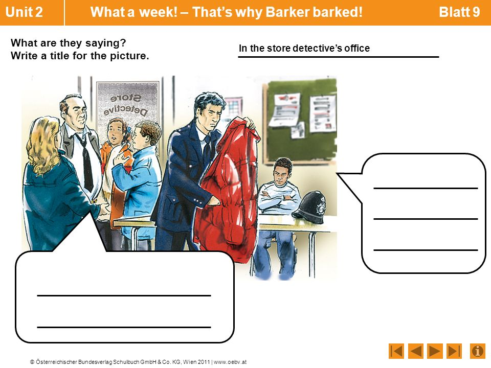 Unit 2 What a week! – That's why Barker barked! Blatt 9