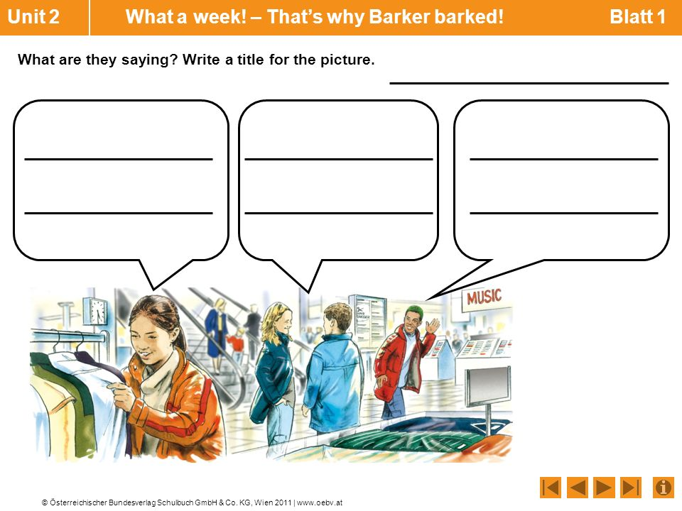 Unit 2 What a week! – That's why Barker barked! Blatt 1